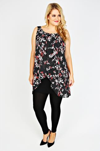 Black, Red & White Floral Print Chiffon Overlay Tunic Dress