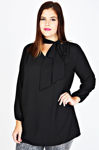 Black Long Sleeve Chiffon Pussy Bow Blouse