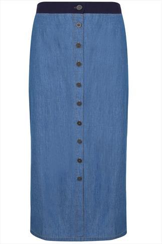 Blue Denim  Button Front  Midi Skirt With Jersey Waistband