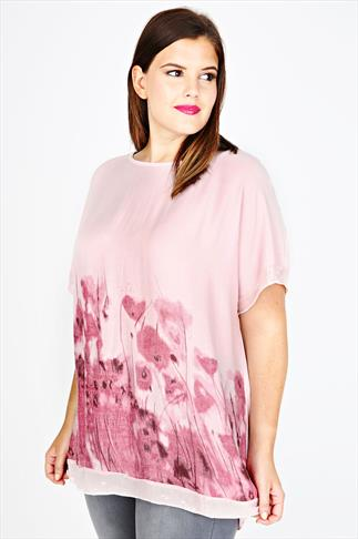 Pink Floral Watercolour Print Sequin Border Top