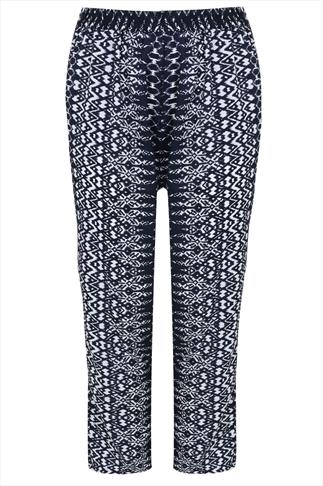 Navy & White Aztec Print Harem Trousers