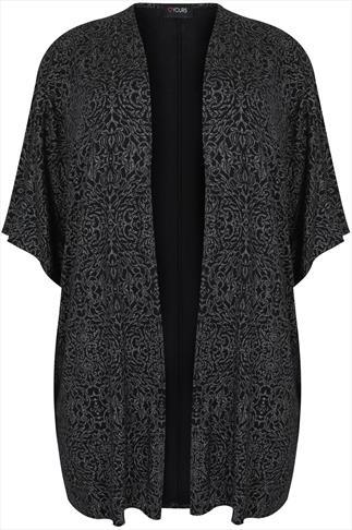 Black and Silver Printed Kimono