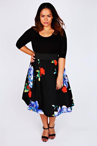 SCARLETT & JO Black & Blue Floral Print 2 in1 Dress