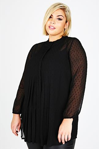 Black Flocked Polka Dot Chiffon Blouse With Pleat Detail