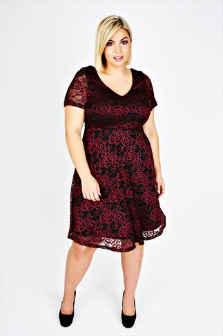 Black & Berry Short Sleeve Lace Skater Dress