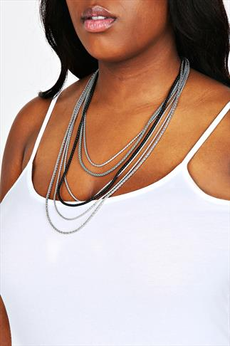 Silver & Black Chain Layered Necklace