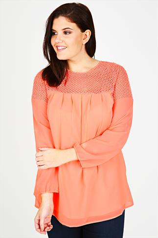 Coral Swing Blouse With Crochet Panel