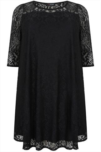 Black Lace Sleeved Swing Dress