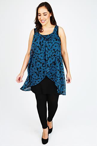 Black And Teal Floral Print Chiffon Overlay Tunic Dress