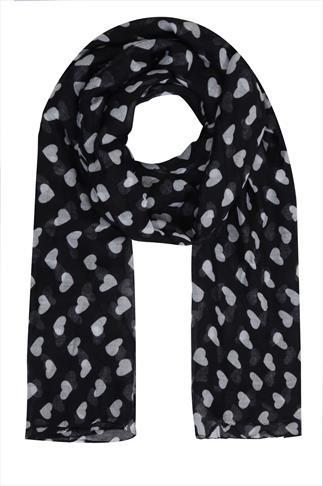 Black & White Heart Print Scarf