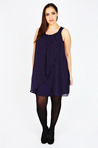 Purple Diamanté Chiffon Overlay Tunic Dress