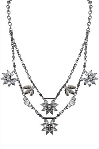 Gunmetal & Silver Jewelled Flower Layered Necklace