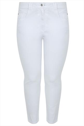White Twill Straight Leg Jeans