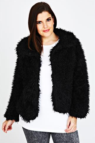 Black Faux Fur Soft Cropped Coat