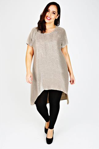Gold Sparkle Extreme Dipped Hem Top