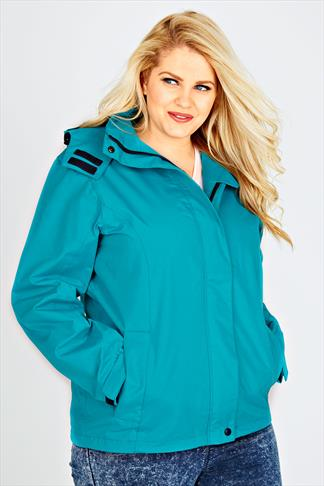 Turquoise Waterproof Rain Jacket With Removable Hood