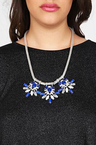 Navy Blue & White 3 Point Statement Silver Chain Necklace