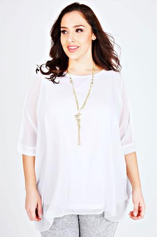 White Batwing Sleeve Chiffon Top With Necklace