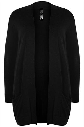 Black Longline Cardigan With Slouch Pockets