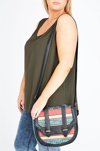 Black & Multi Patchwork Shoulder Satchel Bag