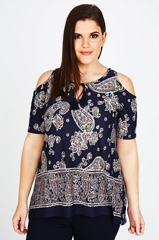 Navy Cold Shoulder Paisley Print Top With Keyhole Detail