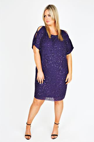 Purple Chiffon Fully Embellished Dress With Cold Shoulder Detail