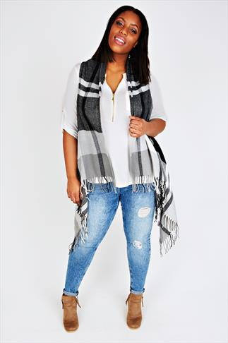 Black And White Checked Sleeveless Wrap