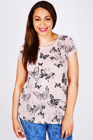 Blush Pink Butterfly Print T-Shirt With Foil Detail & Dipped Hem