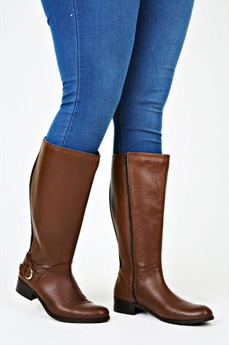Brown Leather Knee High Riding Boots With Buckle Trim & XL Calf Fitting
