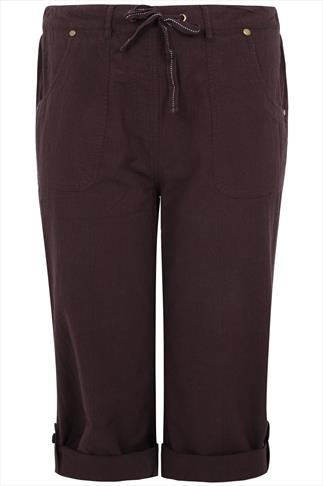 Brown Cool Cotton Roll-Up Crop Trousers With Stud Detail