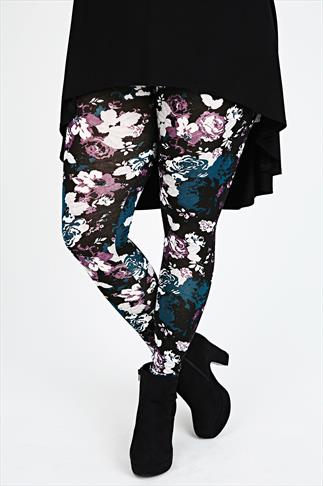 Purple and Teal Floral Print Leggings