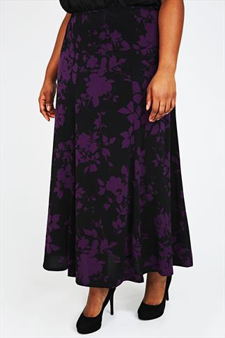 Purple & Black Floral Print Jersey Maxi Skirt With Panel Detail