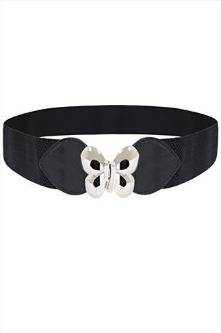 Black Silver Butterfly Clasp Waist Belt