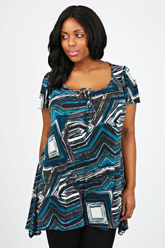 Teal & Grey Abstract Print Longline Top With Godet Sides