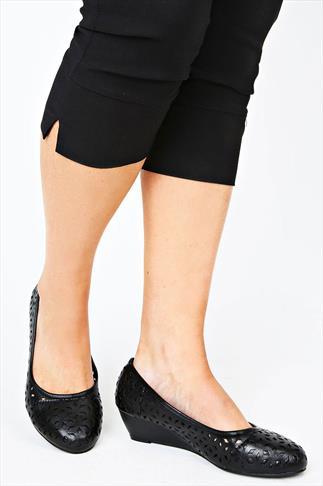 Black Laser Cut Wedge Shoe in A EEE Fit