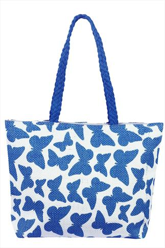 Blue And White Butterfly Print Shopper Beach Bag