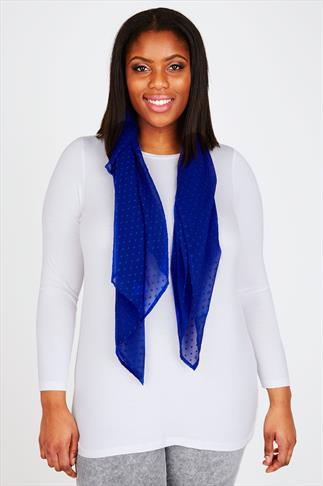 Blue Sheer Dotty Scarf