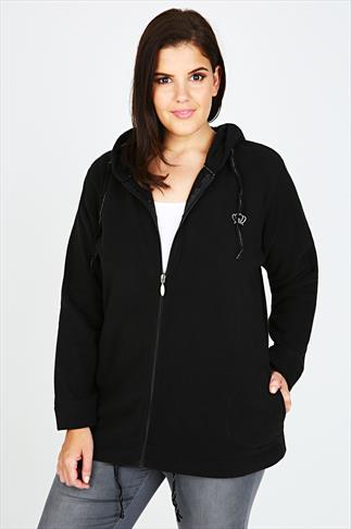 Black Microfleece Hoodie With Zip Fastening And Front Pockets