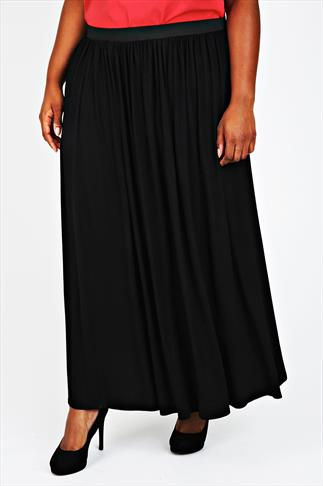 Black Maxi Skirt With Elasticated Waistband
