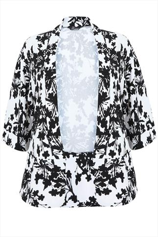 White & Black Floral Print Crepe Blazer Jacket