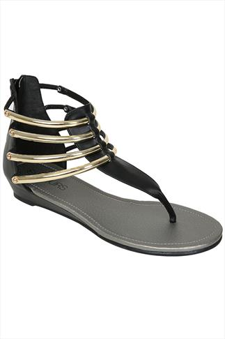 Black Gold Bar Trim Gladiator Low Wedge Sandals In EEE Fit