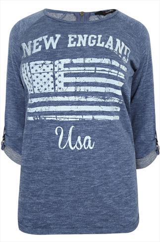 Blue Marl Textured New England Sweatshirt