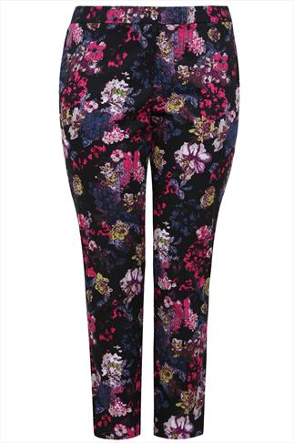 "30"" Black And Multi Floral Print Slim Leg Trousers"