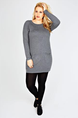 Grey Knitted Tunic Dress With Pocket Detail