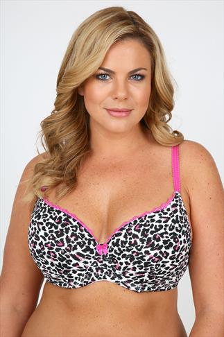 Black, White And Pink Animal Print  Moulded Underwired Bra