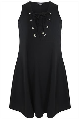 Black Skater Dress With Lace Up V Neckline