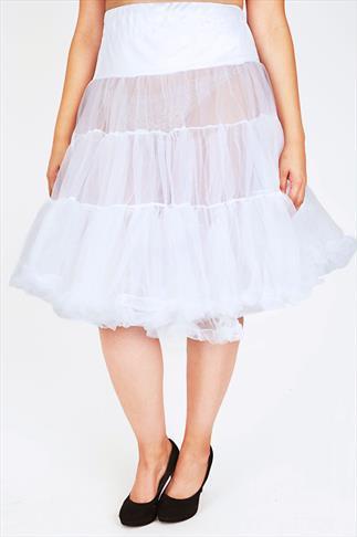 HELL BUNNY White Petticoat Flare Skirt