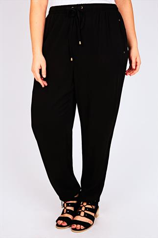 Black Harem Trousers With Pockets & Drawstring Waist