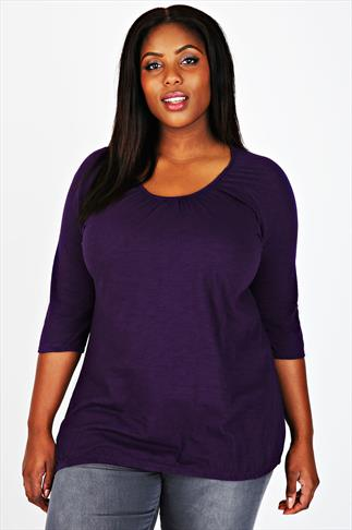Purple 3/4 Sleeve Top With Bubble Hem