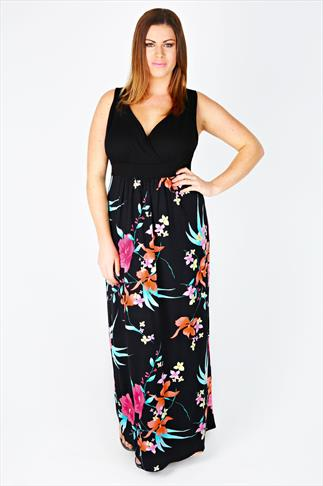 Black And Pink Floral Print Maxi Dress With V-Neckline